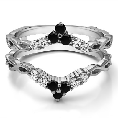 0.45 Ct. Black and White Stone Infinity Chevron Ring Guard Enhancer