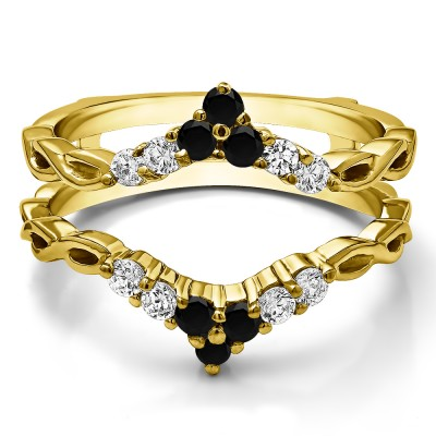 0.45 Ct. Black and White Stone Infinity Chevron Ring Guard Enhancer in Yellow Gold