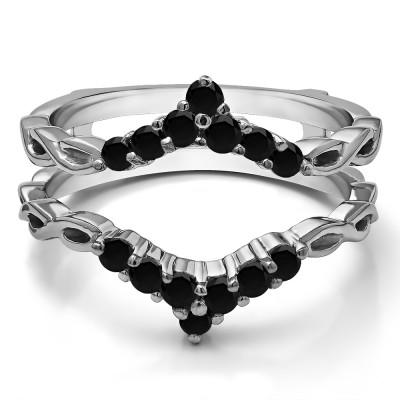 0.45 Ct. Black Stone Infinity Chevron Ring Guard Enhancer