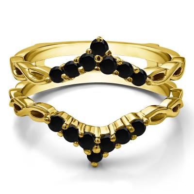 0.45 Ct. Black Stone Infinity Chevron Ring Guard Enhancer in Yellow Gold