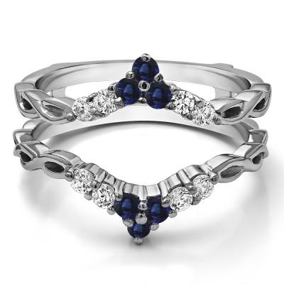 0.45 Ct. Sapphire and Diamond Infinity Chevron Ring Guard Enhancer