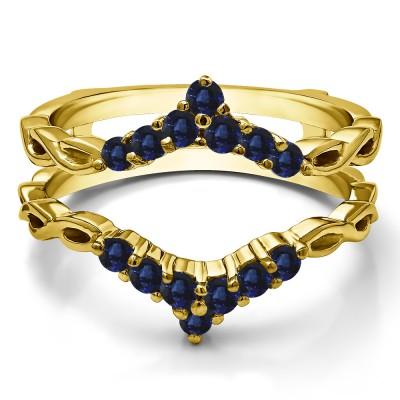 0.45 Ct. Sapphire Infinity Chevron Ring Guard Enhancer in Yellow Gold