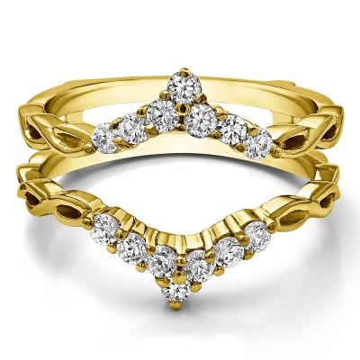 0.45 Ct. Infinity Chevron Ring Guard Enhancer in Yellow Gold