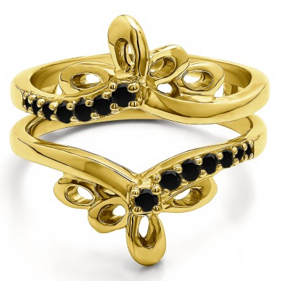 0.3 Ct. Black Stone Bow Shaped Chevron Ring Guard in Yellow Gold