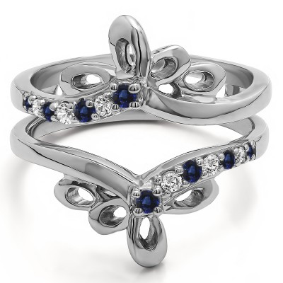 0.3 Ct. Sapphire and Diamond Bow Shaped Chevron Ring Guard