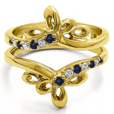 0.3 Ct. Sapphire and Diamond Bow Shaped Chevron Ring Guard in Yellow Gold