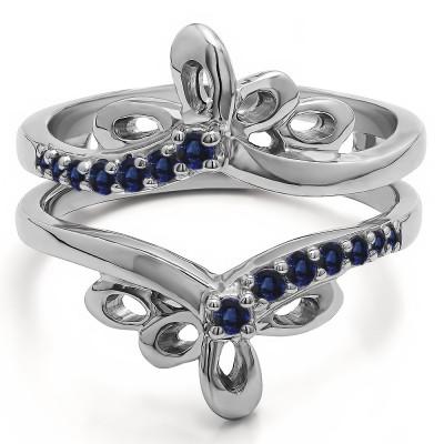 0.3 Ct. Sapphire Bow Shaped Chevron Ring Guard