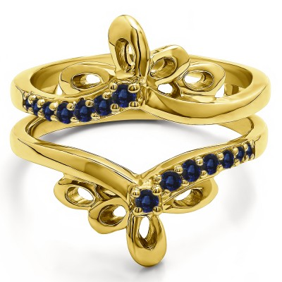 0.3 Ct. Sapphire Bow Shaped Chevron Ring Guard in Yellow Gold