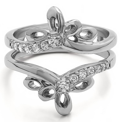 0.3 Ct. Bow Shaped Chevron Ring Guard
