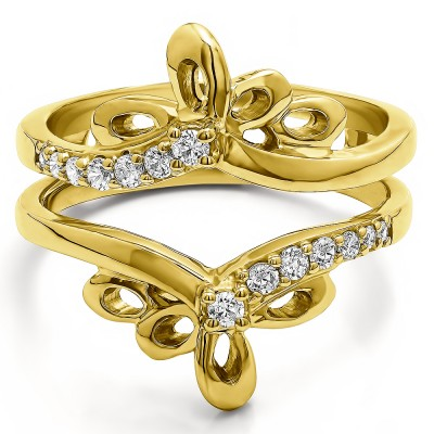0.3 Ct. Bow Shaped Chevron Ring Guard in Yellow Gold