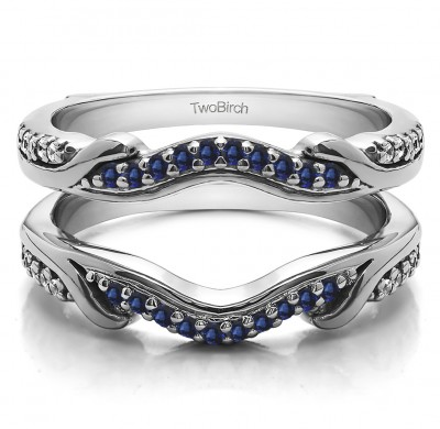 0.26 Ct. Sapphire and Diamond Contoured Leaf Wedding Ring Jacket