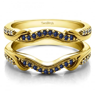 0.26 Ct. Sapphire and Diamond Contoured Leaf Wedding Ring Jacket in Yellow Gold