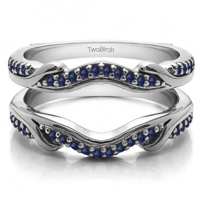 0.26 Ct. Sapphire Contoured Leaf Wedding Ring Jacket