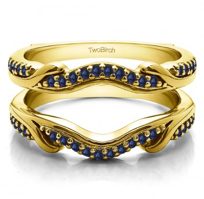 0.26 Ct. Sapphire Contoured Leaf Wedding Ring Jacket in Yellow Gold