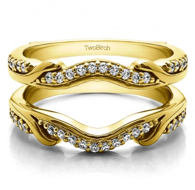 0.26 Ct. Contoured Leaf Wedding Ring Jacket in Yellow Gold