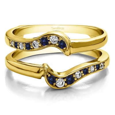 0.25 Ct. Sapphire and Diamond Small Knott Ring Guard Enhancer in Yellow Gold