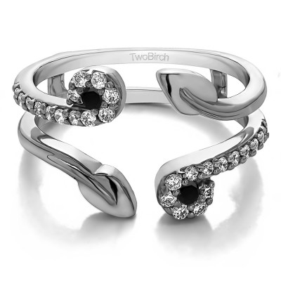 0.42 Ct. Black and White Stone Two Stone Leaf Ring Guard Enhancer