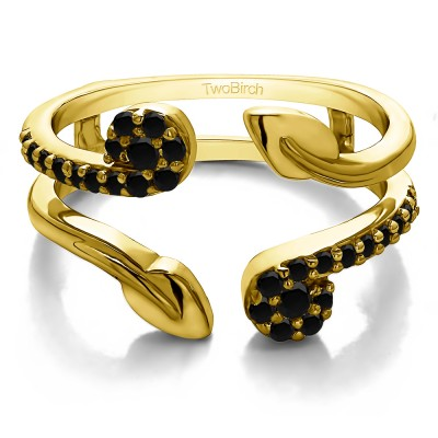 0.42 Ct. Black Stone Two Stone Leaf Ring Guard Enhancer in Yellow Gold