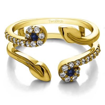 0.42 Ct. Sapphire and Diamond Two Stone Leaf Ring Guard Enhancer in Yellow Gold