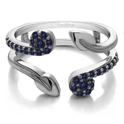 0.42 Ct. Sapphire Two Stone Leaf Ring Guard Enhancer