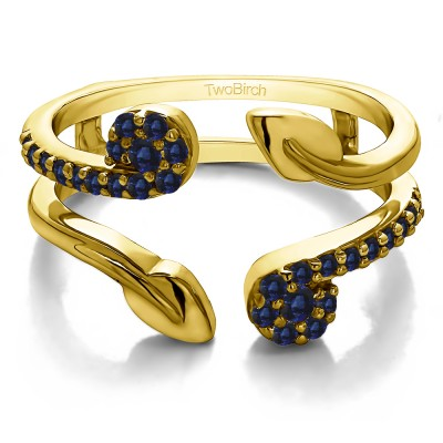 0.42 Ct. Sapphire Two Stone Leaf Ring Guard Enhancer in Yellow Gold