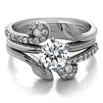 Guard & Solitaire Set,Includes 2 Pieces: Guard and 1 Carat CZ Solitaire Size 8 in Silver & CZ