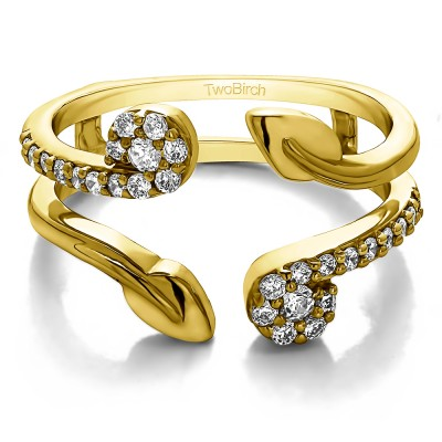 0.42 Ct. Two Stone Leaf Ring Guard Enhancer in Yellow Gold