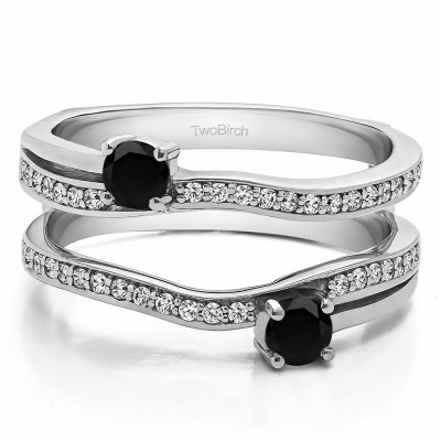 0.66 Ct. Black and White Stone Two Stone Curved Ring Guard Enhancer