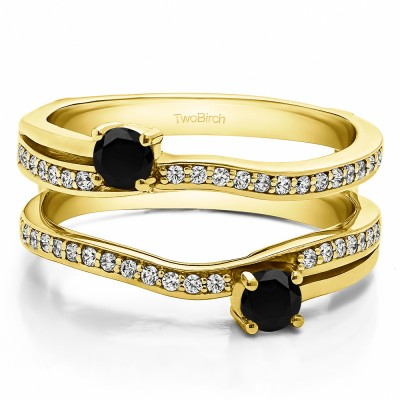 0.66 Ct. Black and White Stone Two Stone Curved Ring Guard Enhancer in Yellow Gold