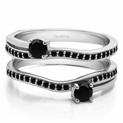 0.66 Ct. Black Stone Two Stone Curved Ring Guard Enhancer