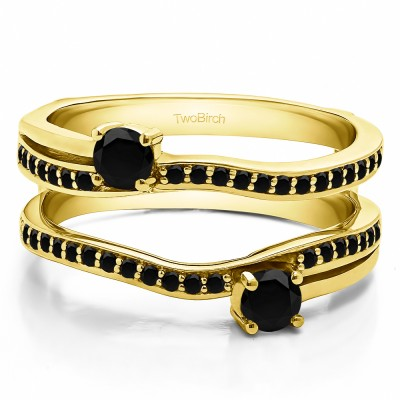 0.66 Ct. Black Stone Two Stone Curved Ring Guard Enhancer in Yellow Gold