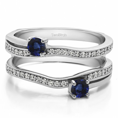 0.66 Ct. Sapphire and Diamond Two Stone Curved Ring Guard Enhancer