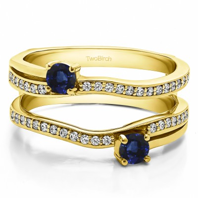 0.66 Ct. Sapphire and Diamond Two Stone Curved Ring Guard Enhancer in Yellow Gold