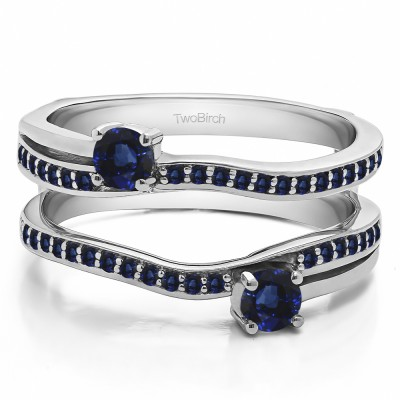 0.66 Ct. Sapphire Two Stone Curved Ring Guard Enhancer