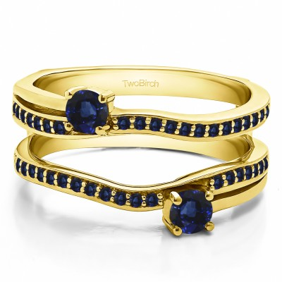 0.66 Ct. Sapphire Two Stone Curved Ring Guard Enhancer in Yellow Gold