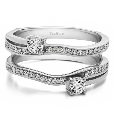 0.66 Ct. Two Stone Curved Ring Guard Enhancer