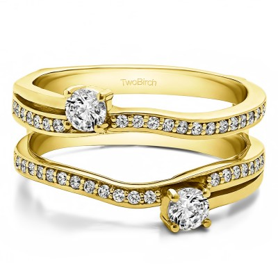 0.66 Ct. Two Stone Curved Ring Guard Enhancer in Yellow Gold