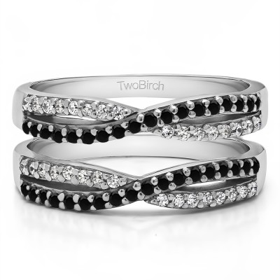 0.48 Ct. Black and White Stone Criss Cross Wedding Ring Guard