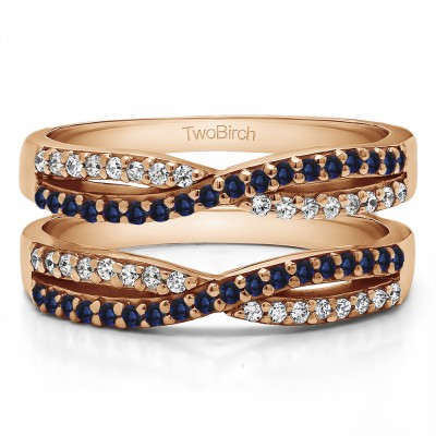0.48 Ct. Sapphire and Diamond Criss Cross Wedding Ring Guard in Rose Gold