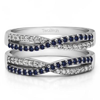 0.48 Ct. Sapphire and Diamond Criss Cross Wedding Ring Guard