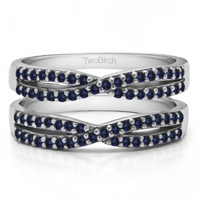 0.48 Ct. Sapphire Criss Cross Wedding Ring Guard