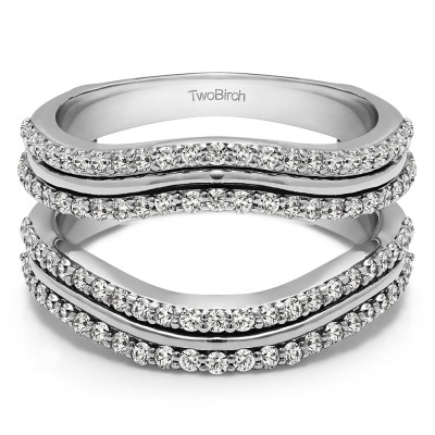0.75 Ct. Double Row Wedding Ring Guard Enhancer