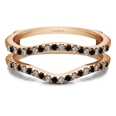 0.3 Ct. Black and White Stone Double Shared Prong Contour Ring Guard in Rose Gold
