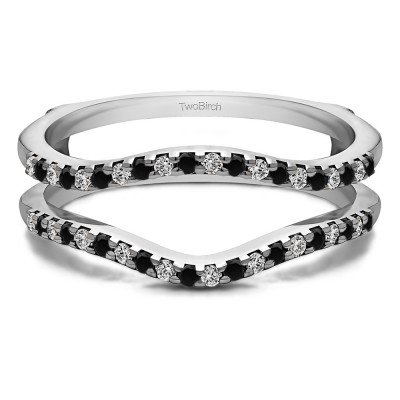 0.3 Ct. Black and White Stone Double Shared Prong Contour Ring Guard