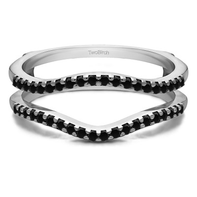 0.3 Ct. Black Stone Double Shared Prong Contour Ring Guard