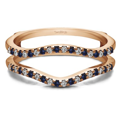 0.3 Ct. Sapphire and Diamond Double Shared Prong Contour Ring Guard in Rose Gold