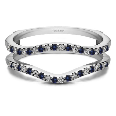 0.3 Ct. Sapphire and Diamond Double Shared Prong Contour Ring Guard