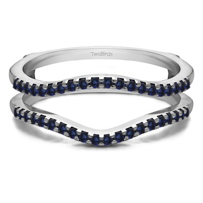 0.3 Ct. Sapphire Double Shared Prong Contour Ring Guard