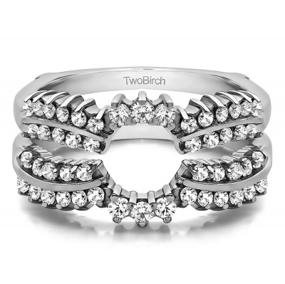 1.15 Ct. Double Row Prong Halo Ring Guard Enhancer