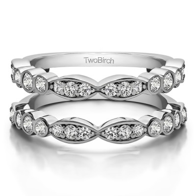 0.64 Ct. Alternating Marquise Shape and Round Ring Guard